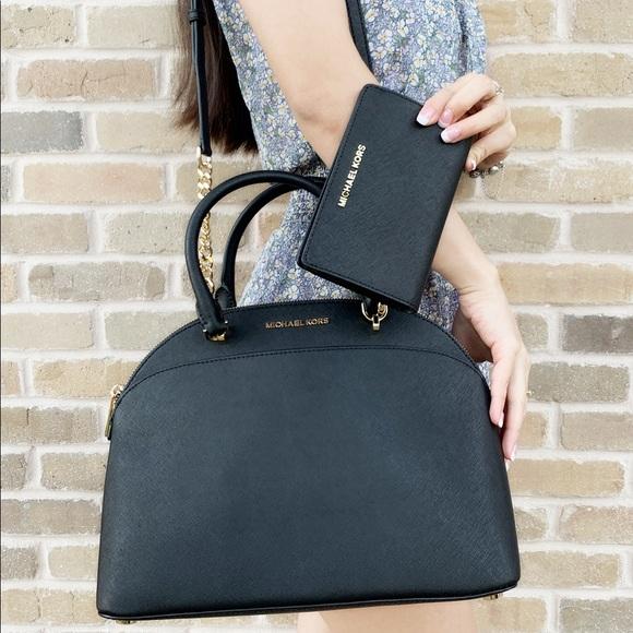 fd1d13be0880 Michael Kors Satchel Bag Black Wallet Bundle